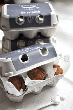 packaging mini muffins in egg cartons... add tissue...your own label/tag