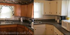 kitchen cabinet makeover with paint and picture molding trim