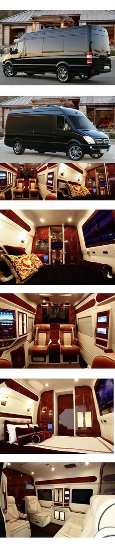 Mercedes Sprinter Van by Lexani Motorcars boasts a full-sized luxury bedroom Mercedes Sprinter, Sprinter Van, Mercedes Wheels, Luxury Van, Mercedez Benz, Mustang Cars, Ford Mustangs, Custom Vans, Bugatti