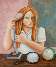 Girl Brushing Hair with Clock and Mirror by Rick Beerhorst