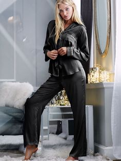 The Afterhours Satin Pajama - Victoria's Secret, SILVER,GREY,BLACK,ANY OF THE STRIPES, SMALL LONG