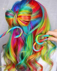 Rainbow hair , supper cute !