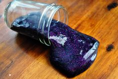 Sparkle Slime    -1 container of clear Elmers glue  -3/4 of a cup of liquid starch (in a big blue bottle in your laundry aisle at Walmart)  -Black food coloring  -Glitter     Let it sit for about 20 minutes while randomly mixing it, then play!
