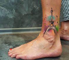Eiffel tower tattoo on the ankle. Tattoo Artist: Simona Blanar