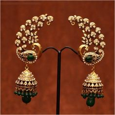 Shop Anvi\'s Peacock Design Green Beads Ear Hangings With Jhumkas Which Covers Complete Ear by Anvi Collections online. Largest collection of Latest Earrings online. Emerald Jewelry, Gold Jewelry, Jewelery, Diamond Jewelry, India Jewelry, Temple Jewellery, Indian Wedding Jewelry, Bridal Jewelry, Traditional Earrings