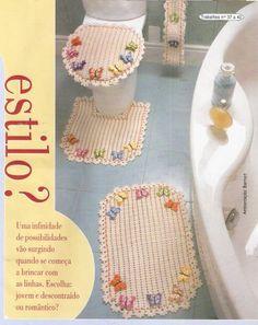 Artes em crochê da Lu: Jogo de banheiro de borboleta