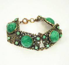 Art Deco Bracelet Peking Glass Gilt Antique by zephyrvintage, $85.00
