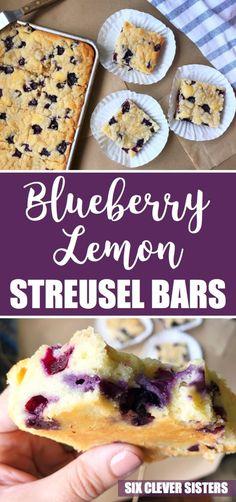 Fresh Fruit Desserts, Blueberry Desserts, Easy No Bake Desserts, Lemon Desserts, Lemon Recipes, Dessert Recipes, Dessert Bars, Blueberry Cake, Healthy Desserts