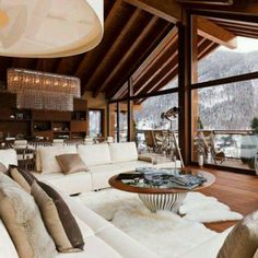 winter cabin living room