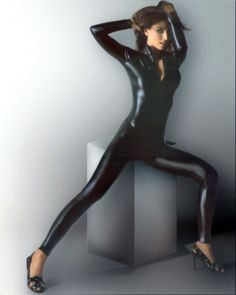 Shania Twain in a black catsuit