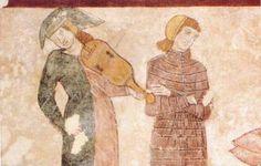 Bassano del Grappa, Palazzo Finco, affresco con scena cortese, part. giullare con viella, XIII secolo