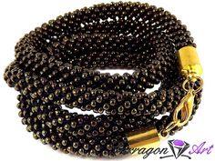 Bransoletka szydełkowo koralikowa Seed Beads - Iris Brown + | Tarragon Art - stylowa biżuteria artystyczna