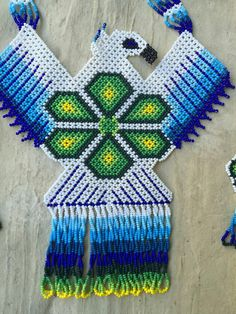 Mexican Huichol beaded eagle native necklace set with