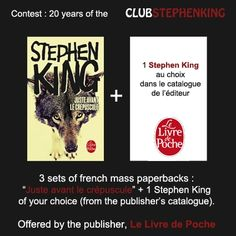 Remember : Le Livre de Poche, is offering sets of books for the #StephenKingContest    Link to the contest >>> http://clubstephenking.com/