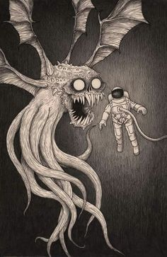 - Simply call Of Cthulu – hot crafts , saying , horror , horror , pictures Creepy Drawings, Creepy Art, Art Drawings, Scary, Art And Illustration, Monster Illustration, Monster Drawing, Monster Art, Arte Horror