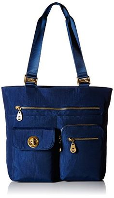 Baggallini Tulum Travel Tote Bag, Pacific, One Size. Lined water-resistant tote bag featuring mismatched exterior pockets and convertible luggage sleeve at back. Denim Bags From Jeans, Denim Tote Bags, Blue Jean Purses, Best Travel Accessories, Fabric Bags, Travel Tote, Leather Bag, Purses And Bags, Best Luggage