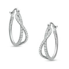 1/4 CT. T.W. Diamond Hoop Earrings in 14K White Gold - Zales