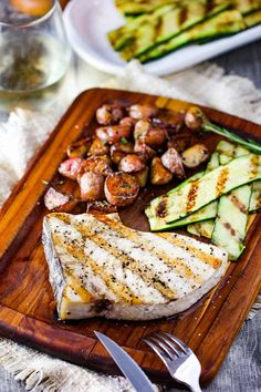 """Grilled Swordfish Steaks are incredibly delicious and easy to prepare. They are meaty and are simliar to a juicy steak. Not """"fishy"""" at all. Grilled Swordfish Steaks, Swordfish Recipes, Seafood Dishes, Seafood Recipes, Fish Dishes, Main Dishes, Chicken Francese Recipe, Roasted Fennel, Grilled Zucchini"""