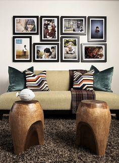 picture hanging ideas over sectional couch | Take this photo for example. The collage offers a unique, customized ...
