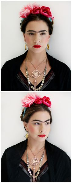 Frida Kahlo DIY Makeup + Hair + Costume by Claire Ashley https://www.youtube.com/watch?v=FIlid6MTO-U