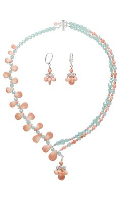 Jewelry Design - Double-Strand Necklace and Earring Set with Bamboo Coral Gemstone Beads, Swarovski Crystal and Silver-Plated Brass Bead Caps - Fire Mountain Gems and Beads