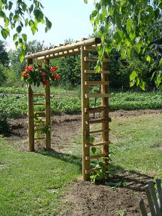 Arbor made of landscape wood, I need to replace part of mine that is made out of rasberry poles.  Maybe I can get some good tips from this one.