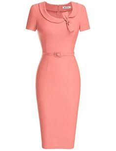 MUXXN Womens Audrey Hepburn Style Short Sleeve Belt Waist Cocktail Tea Dress Gray - Work Dresses - Ideas of Work Dresses - Backless Maxi Dresses, Plus Size Maxi Dresses, Women's Dresses, Pretty Dresses, Fashion Dresses, Bodycon Dress, Dresses For Work, 50 Fashion, Fashion Styles