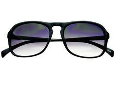 Keyhole Retro Fashion Flat Top Sunglasses Shiny Black Gray Lens FT491