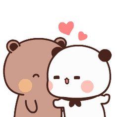 Cute Bunny Cartoon, Cute Kawaii Animals, Cute Cartoon Pictures, Cute Love Pictures, Cute Love Cartoons, Cute Images, Cute Kiss, Cute Love Gif, Cute Cat Gif