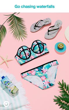 This summer, it's all about getting as tropical as the patterns on your swimsuit. Go chase waterfalls in a cute bandeau bikini with molded cups for extra comfort and lift.