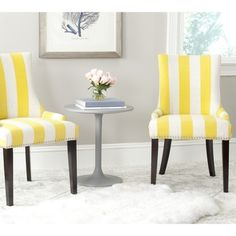 Safavieh Lester Yellow/White Stripe Polyester Blend Dining Chair (Set of 2) | Overstock.com Shopping - Great Deals on Safavieh Dining Chairs
