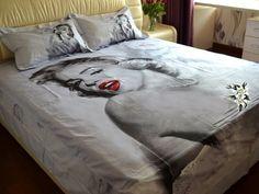Amazon.com: Marilyn Monroe Bedding Sets with Rose Duvet Cover Set 100% Cotton 4 Pcs: Home & Kitchen