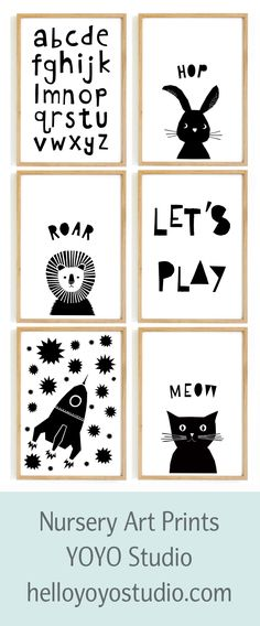 Nursery wall art in stunning monochrome from YOYO Studio.