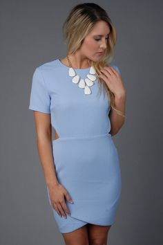 Baby Blue Short Sleeve Dress with Side Cutouts