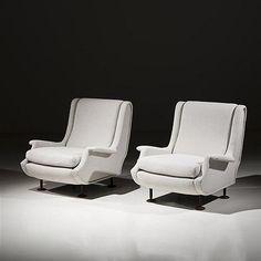 Marco Zanuso, pair of white Regent armchairs, 1960 - by Piasa #midcenturymodern