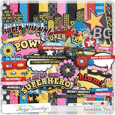 Incredible You - a superhero themed digital scrapbook kit with a girly twist!