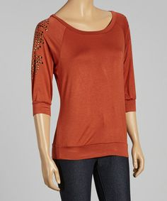 Look what I found on #zulily! Rust & Gold Studded Three-Quarter Sleeve Top #zulilyfinds