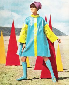 "May 1967. ""We see by the paper that there's a sea of paper around!"" Mod paper dress in Seventeen magazine."