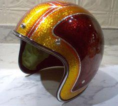 Lowbrow Customs / Tech Painting Metalflake Helmet Blue Moon Kustoms