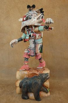 The Bear Kachina Doll represents great power and is known to cure the sick. The Bear is a potent source of strength for many Native Americans. Admired for their strength, independence, and self reliance, the Spirit of the Bear was often invoked before entering battle.