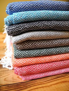 Mitla Moda's handwoven scarves are so fab and come in a variety of bright colors, just in time for winter! $56.99   mitlamoda.com