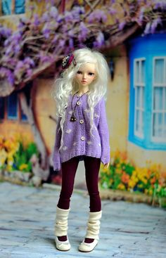 Lavender heart knitted cardigan for MSD bjd by CandyDollShop