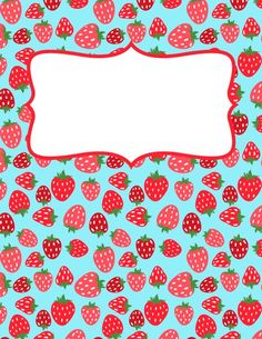 Free printable strawberry binder cover template. Download the cover in JPG or PDF format at http://bindercovers.net/download/strawberry-binder-cover/