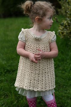 Crochet+Dress+Patterns+for+Girls | Beehive Baby Sport – I Heart My Dress (crochet) from Patons