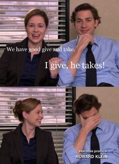 love those bloopers. theyre cute in real life tooooo Pam The Office, Best Of The Office, Office Fan, Perfect Relationship, Relationship Goals, Jim And Pam Quotes, Office Bloopers, Worlds Best Boss, Jim Halpert