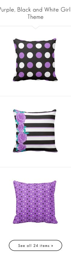 """Purple, Black and White Girls Theme"" by whimsyhomestore ❤ liked on Polyvore featuring home, home decor, throw pillows, black and white home decor, black and white home accessories, black and white accent pillows, patterned throw pillows, whimsical home decor, black and white striped throw pillows and striped accent pillows"
