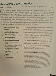 Manhattan Clam Chowder-ATK Chowder Recipes, Soup Recipes, Chicken Recipes, Best Vegan Recipes, Copycat Recipes, Manhattan Clam Chowder, Fish Chowder, Food Words, Chowders