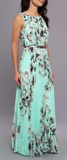 Green Floral Belt Pleated Sleeveless Floor Length Chiffon Maxi Dress