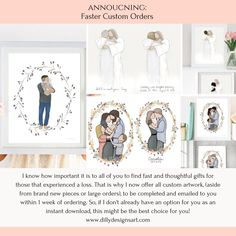 I know how important it is to all of you to find fast and thoughtful gifts for those that experienced a loss. That is why I now offer all custom artwork, (aside from brand new pieces or large orders), to be completed and emailed to you within 1 week of ordering. So, if I don't already have an option for you as an instant download, this might be the best choice for you!www.dillydesignsart.com/ #dillydesignsart #customartwork #changehair #changeclothing #add #sympathy #funeral #memorial #loss Funeral Gifts, Funeral Memorial, Thoughtful Gifts, Gallery Wall, Thoughts, Frame, Artwork, Picture Frame, Work Of Art