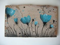 Barn Board Art Turquoise Blue Poppies by AntonMurals on Etsy, $28.95
